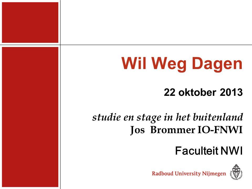 Wil Weg Dagen 22 oktober 2013 studie en stage in het buitenland Jos Brommer IO-FNWI Faculteit NWI