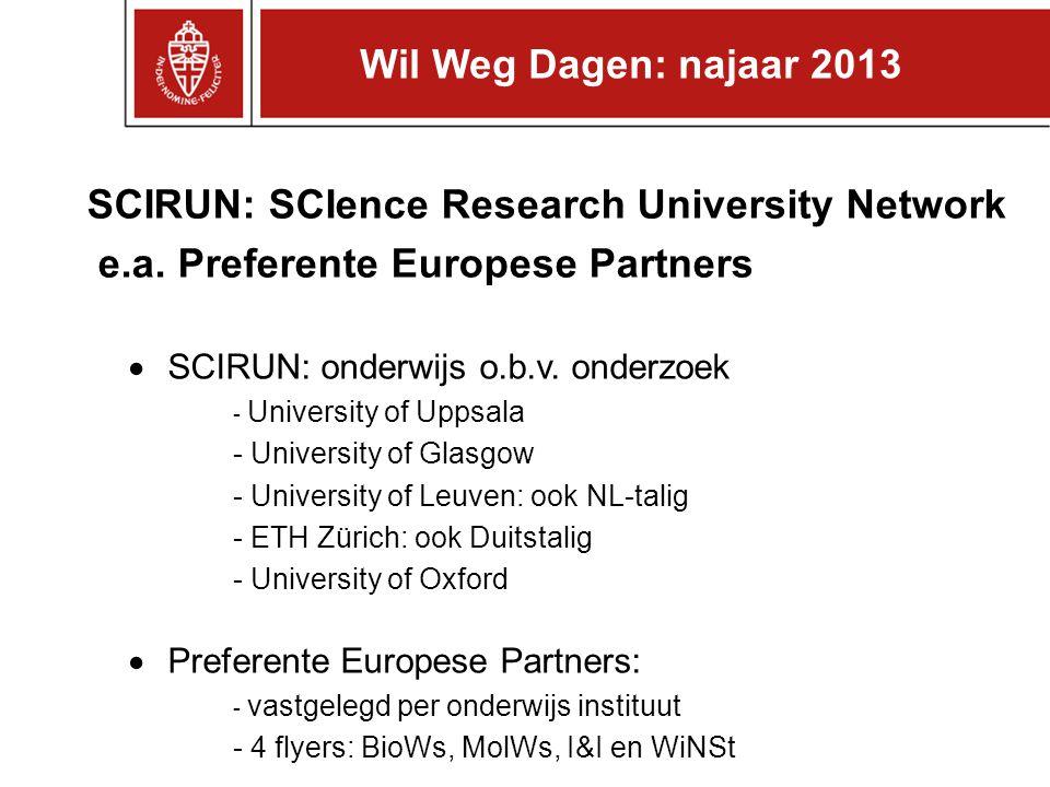 SCIRUN: SCIence Research University Network e.a. Preferente Europese Partners  SCIRUN: onderwijs o.b.v. onderzoek - University of Uppsala - Universit