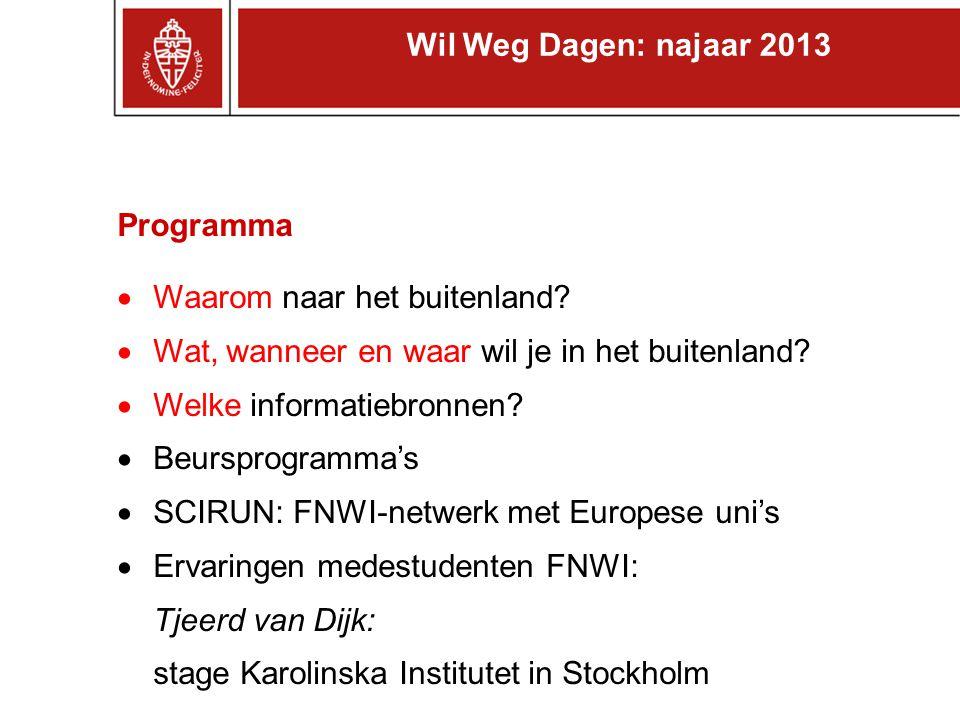 Programma  Waarom naar het buitenland?  Wat, wanneer en waar wil je in het buitenland?  Welke informatiebronnen?  Beursprogramma's  SCIRUN: FNWI-