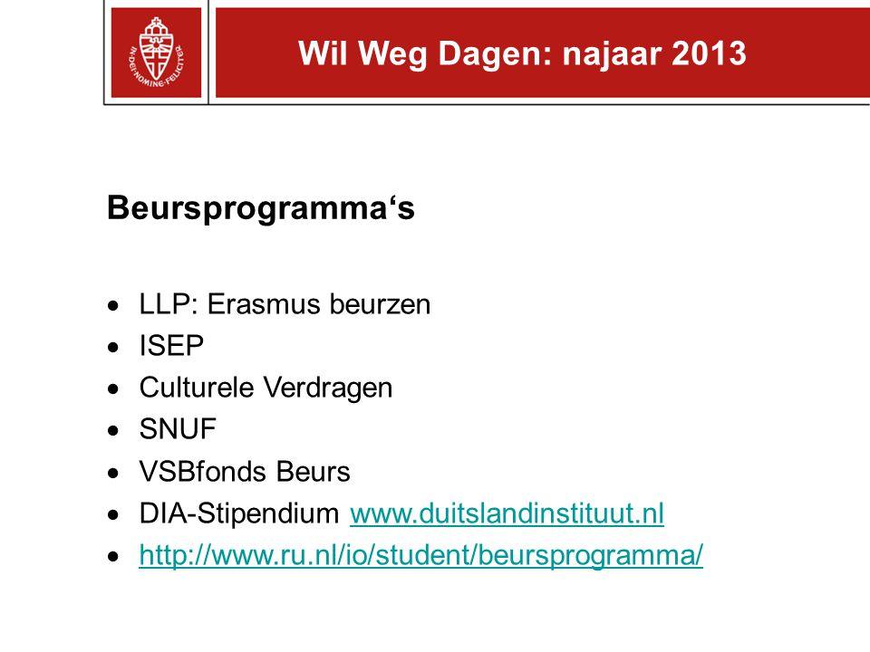 Beursprogramma's  LLP: Erasmus beurzen  ISEP  Culturele Verdragen  SNUF  VSBfonds Beurs  DIA-Stipendium www.duitslandinstituut.nlwww.duitslandinstituut.nl  http://www.ru.nl/io/student/beursprogramma/ http://www.ru.nl/io/student/beursprogramma/ Wil Weg Dagen: najaar 2013