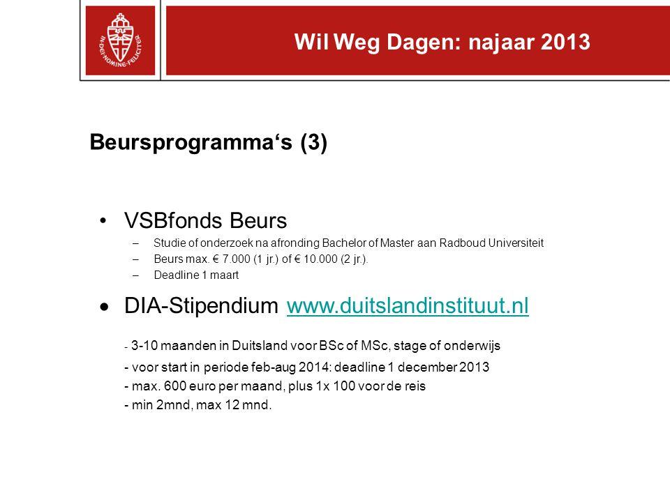 Beursprogramma's (3) VSBfonds Beurs –Studie of onderzoek na afronding Bachelor of Master aan Radboud Universiteit –Beurs max. € 7.000 (1 jr.) of € 10.