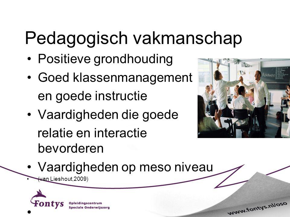 Pedagogisch vakmanschap Positieve grondhouding Goed klassenmanagement en goede instructie Vaardigheden die goede relatie en interactie bevorderen Vaar