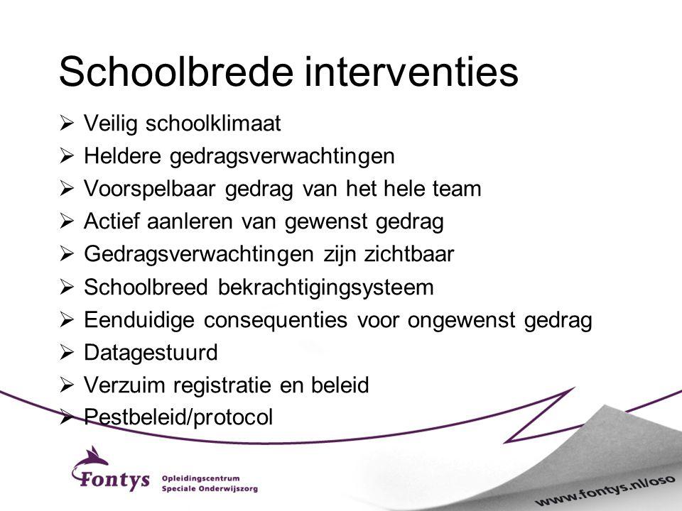 Schoolbrede interventies  Veilig schoolklimaat  Heldere gedragsverwachtingen  Voorspelbaar gedrag van het hele team  Actief aanleren van gewenst g