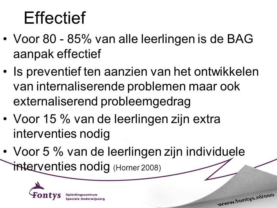Effectief Voor 80 - 85% van alle leerlingen is de BAG aanpak effectief Is preventief ten aanzien van het ontwikkelen van internaliserende problemen ma