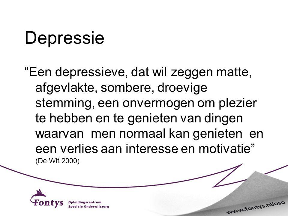 """Depressie """"Een depressieve, dat wil zeggen matte, afgevlakte, sombere, droevige stemming, een onvermogen om plezier te hebben en te genieten van dinge"""