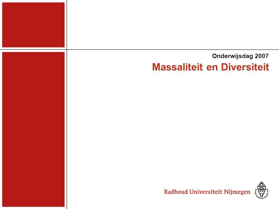Wie, Wat, Waar Jan van Groenendael Hoogleraar Aquatische Ecologie Vice-dekaan Onderwijs Faculteit NWI Massaliteit en diversiteit Onderwijsdag 2007