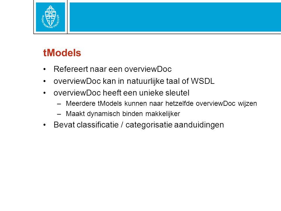 tModels Refereert naar een overviewDoc overviewDoc kan in natuurlijke taal of WSDL overviewDoc heeft een unieke sleutel –Meerdere tModels kunnen naar hetzelfde overviewDoc wijzen –Maakt dynamisch binden makkelijker Bevat classificatie / categorisatie aanduidingen