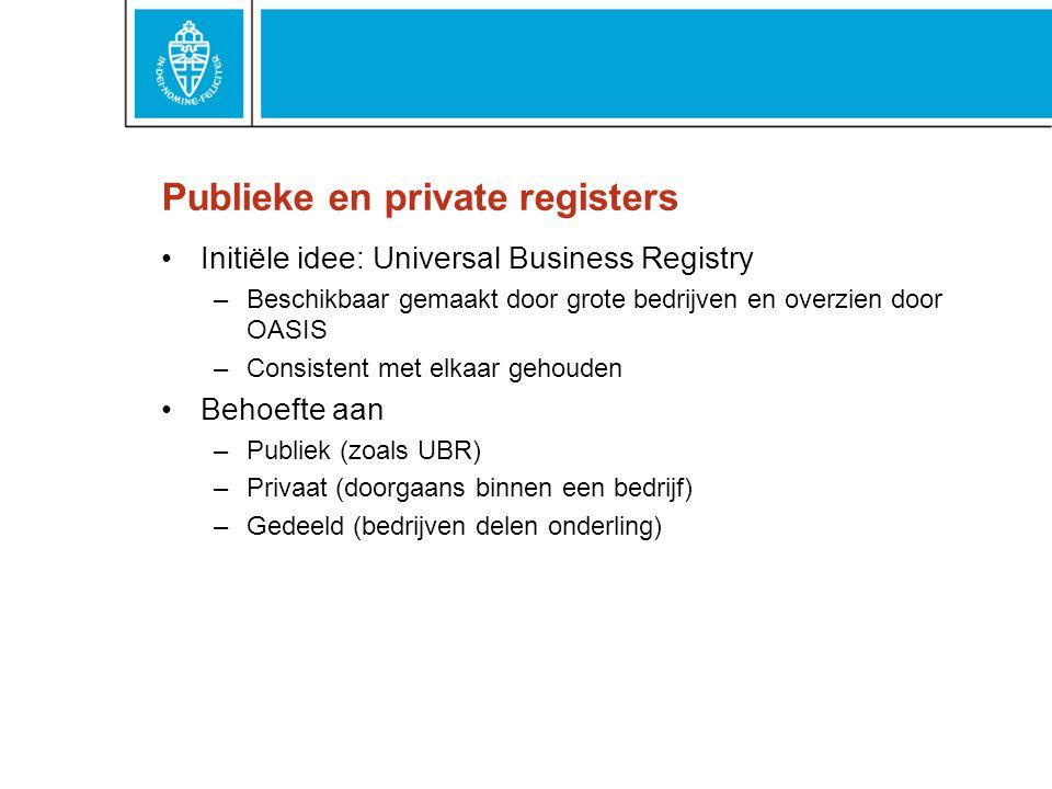 Publieke en private registers Initiële idee: Universal Business Registry –Beschikbaar gemaakt door grote bedrijven en overzien door OASIS –Consistent met elkaar gehouden Behoefte aan –Publiek (zoals UBR) –Privaat (doorgaans binnen een bedrijf) –Gedeeld (bedrijven delen onderling)