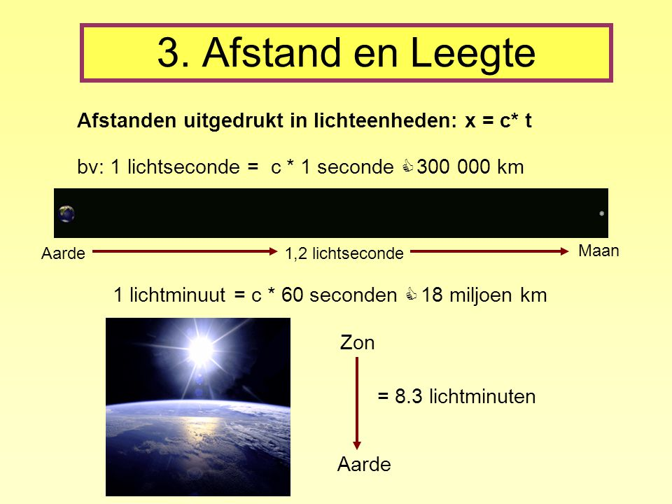 3. Afstand en Leegte Afstanden uitgedrukt in lichteenheden: x = c* t bv: 1 lichtseconde = c * 1 seconde ≃ 300 000 km Aarde Maan 1,2 lichtseconde 1 lic