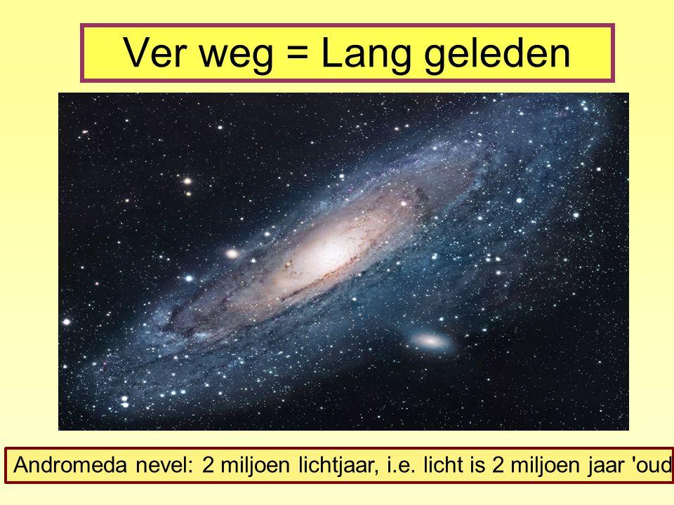Ver weg = Lang geleden Andromeda nevel: 2 miljoen lichtjaar, i.e. licht is 2 miljoen jaar 'oud'