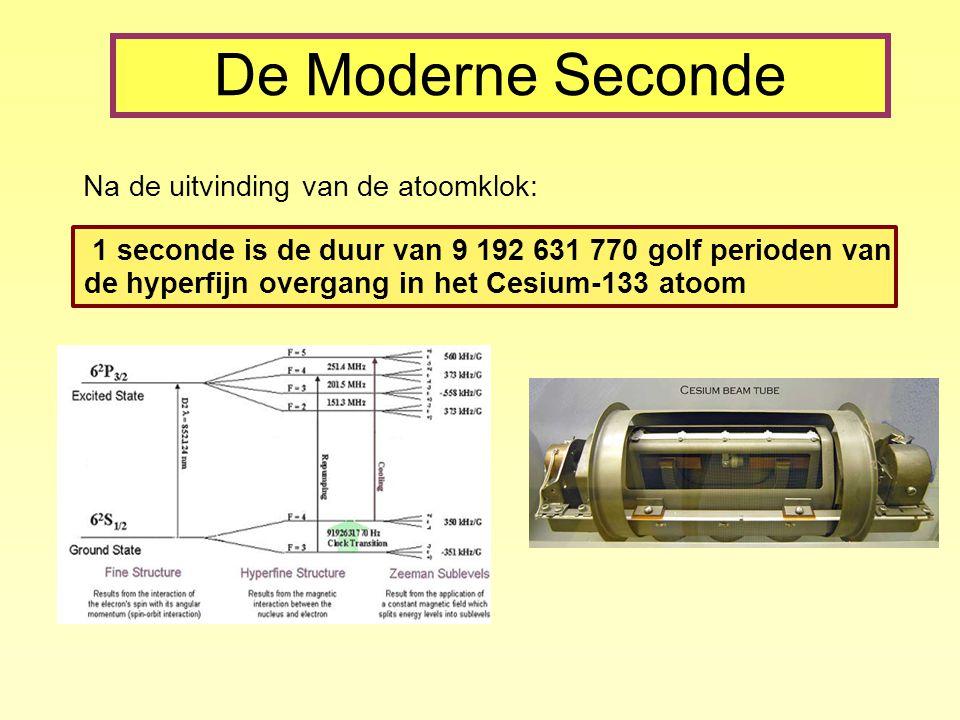 De Moderne Seconde Na de uitvinding van de atoomklok: 1 seconde is de duur van 9 192 631 770 golf perioden van de hyperfijn overgang in het Cesium-133 atoom