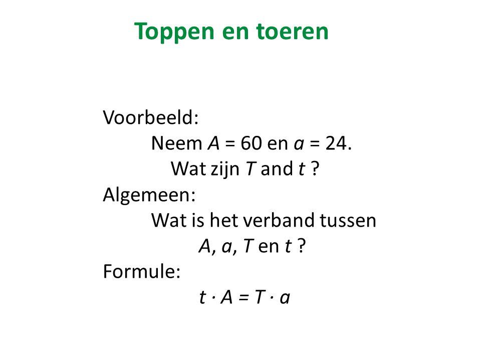 Voorbeeld: Neem A = 60 en a = 24.Wat zijn T and t .