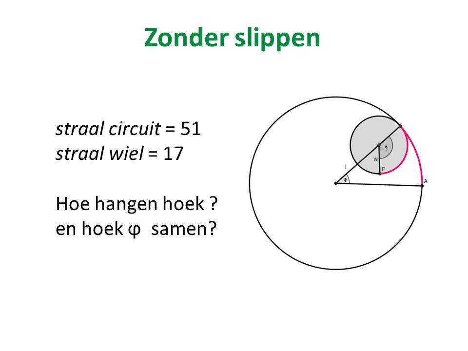 Zonder slippen straal circuit = 51 straal wiel = 17 Hoe hangen hoek ? en hoek ϕ samen?