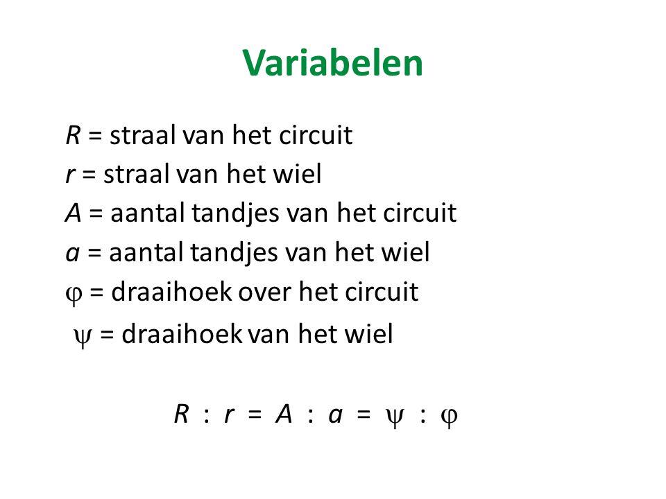 Variabelen R = straal van het circuit r = straal van het wiel A = aantal tandjes van het circuit a = aantal tandjes van het wiel  = draaihoek over het circuit  = draaihoek van het wiel R : r = A : a =  : 