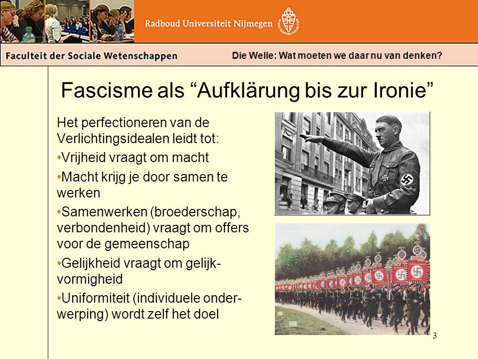 """Die Welle: Wat moeten we daar nu van denken? Fascisme als """"Aufklärung bis zur Ironie"""" Het perfectioneren van de Verlichtingsidealen leidt tot: Vrijhei"""