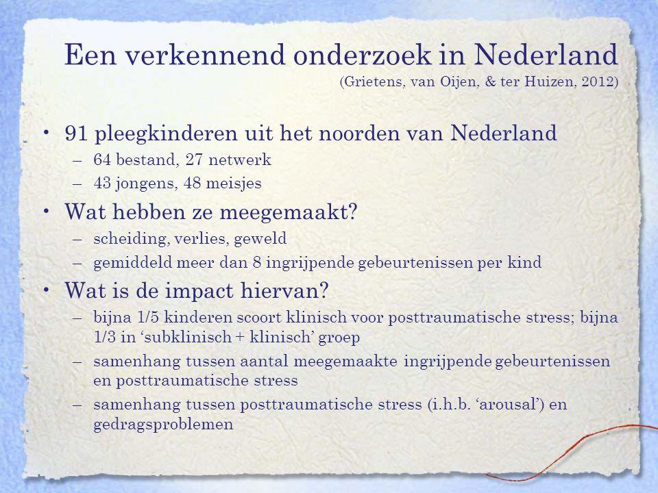 Een verkennend onderzoek in Nederland (Grietens, van Oijen, & ter Huizen, 2012) 91 pleegkinderen uit het noorden van Nederland –64 bestand, 27 netwerk