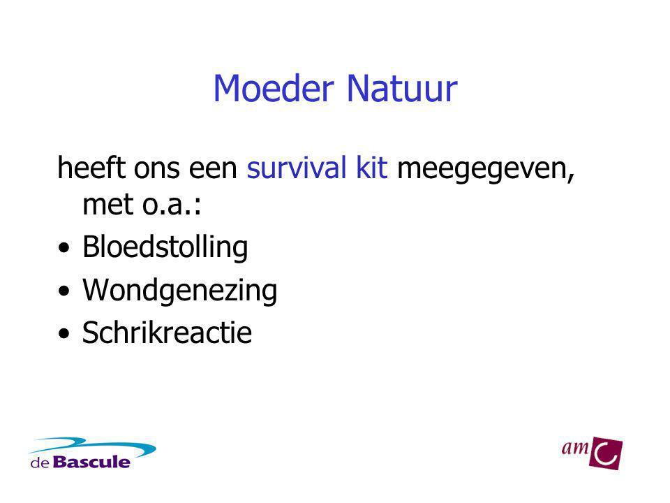 Moeder Natuur heeft ons een survival kit meegegeven, met o.a.: Bloedstolling Wondgenezing Schrikreactie