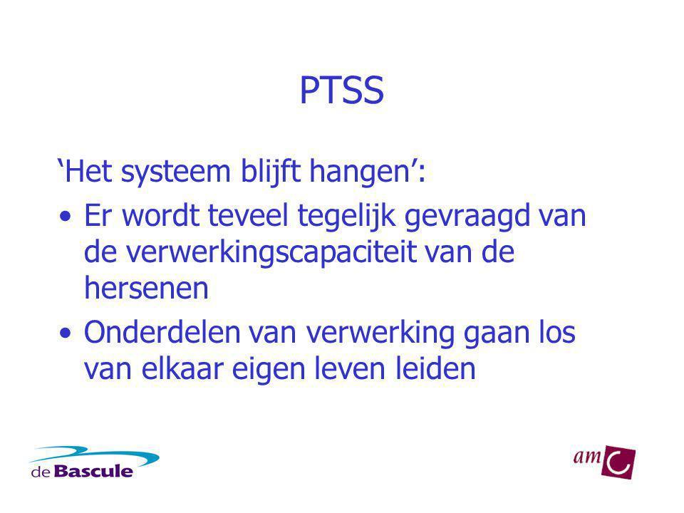 PTSS 'Het systeem blijft hangen': Er wordt teveel tegelijk gevraagd van de verwerkingscapaciteit van de hersenen Onderdelen van verwerking gaan los van elkaar eigen leven leiden
