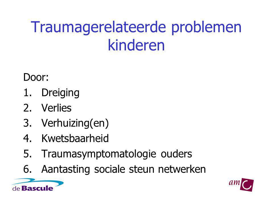 Traumagerelateerde problemen kinderen Door: 1.Dreiging 2.Verlies 3.Verhuizing(en) 4.Kwetsbaarheid 5.Traumasymptomatologie ouders 6.Aantasting sociale steun netwerken
