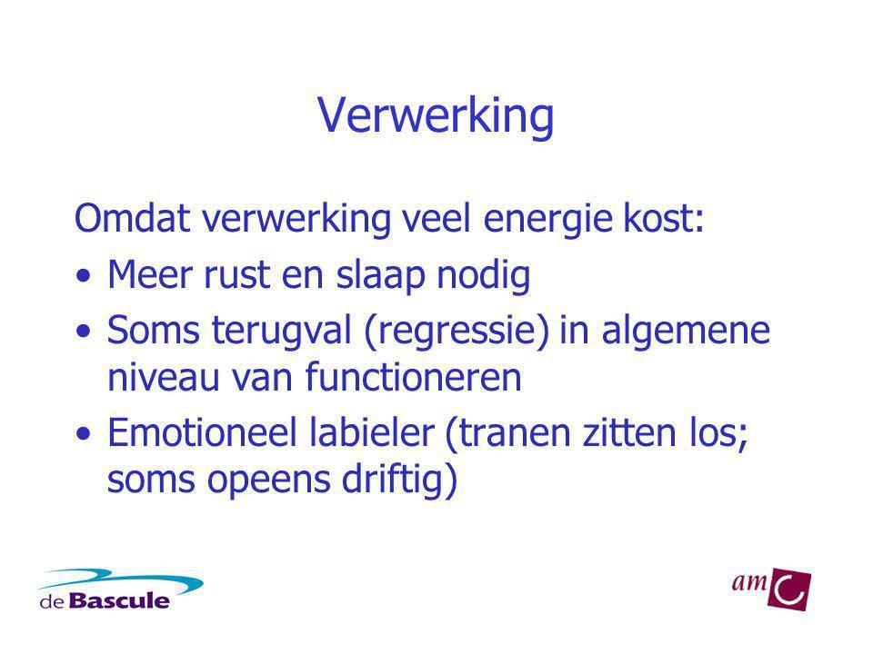 Verwerking Omdat verwerking veel energie kost: Meer rust en slaap nodig Soms terugval (regressie) in algemene niveau van functioneren Emotioneel labieler (tranen zitten los; soms opeens driftig)