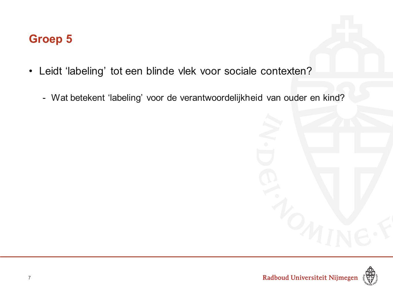 Groep 5 Leidt 'labeling' tot een blinde vlek voor sociale contexten? -Wat betekent 'labeling' voor de verantwoordelijkheid van ouder en kind? 7
