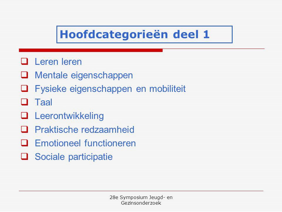 28e Symposium Jeugd- en Gezinsonderzoek  Leren leren  Mentale eigenschappen  Fysieke eigenschappen en mobiliteit  Taal  Leerontwikkeling  Prakti