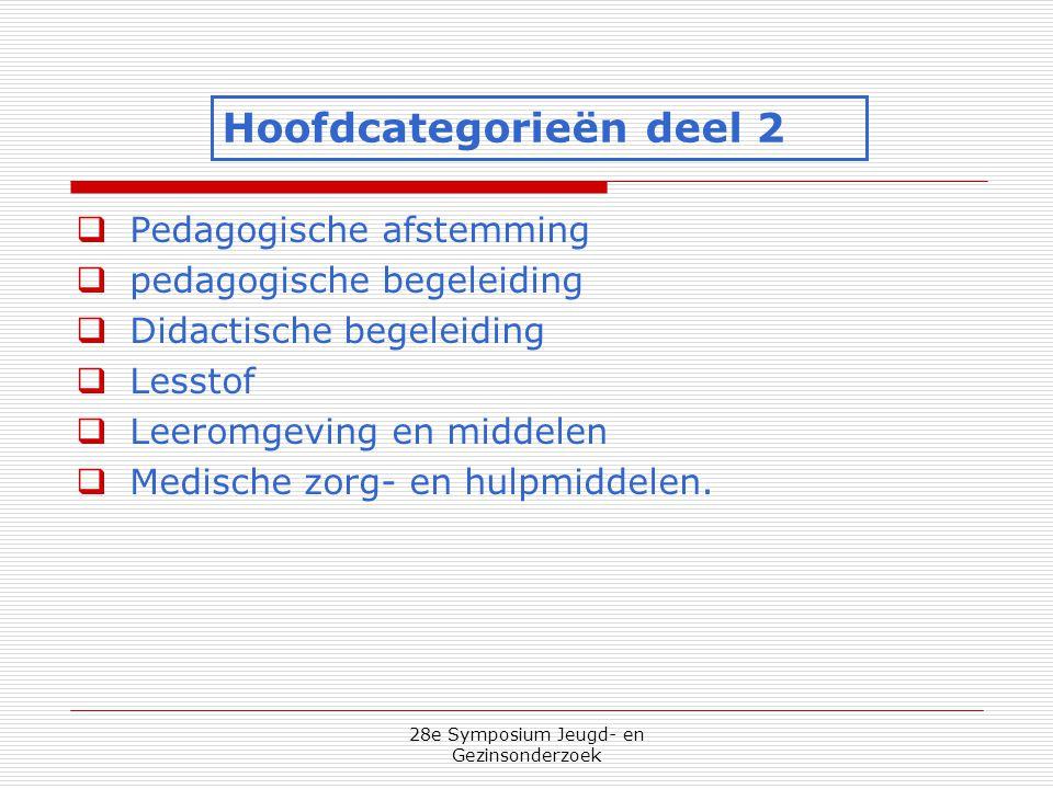 28e Symposium Jeugd- en Gezinsonderzoek  Pedagogische afstemming  pedagogische begeleiding  Didactische begeleiding  Lesstof  Leeromgeving en mid