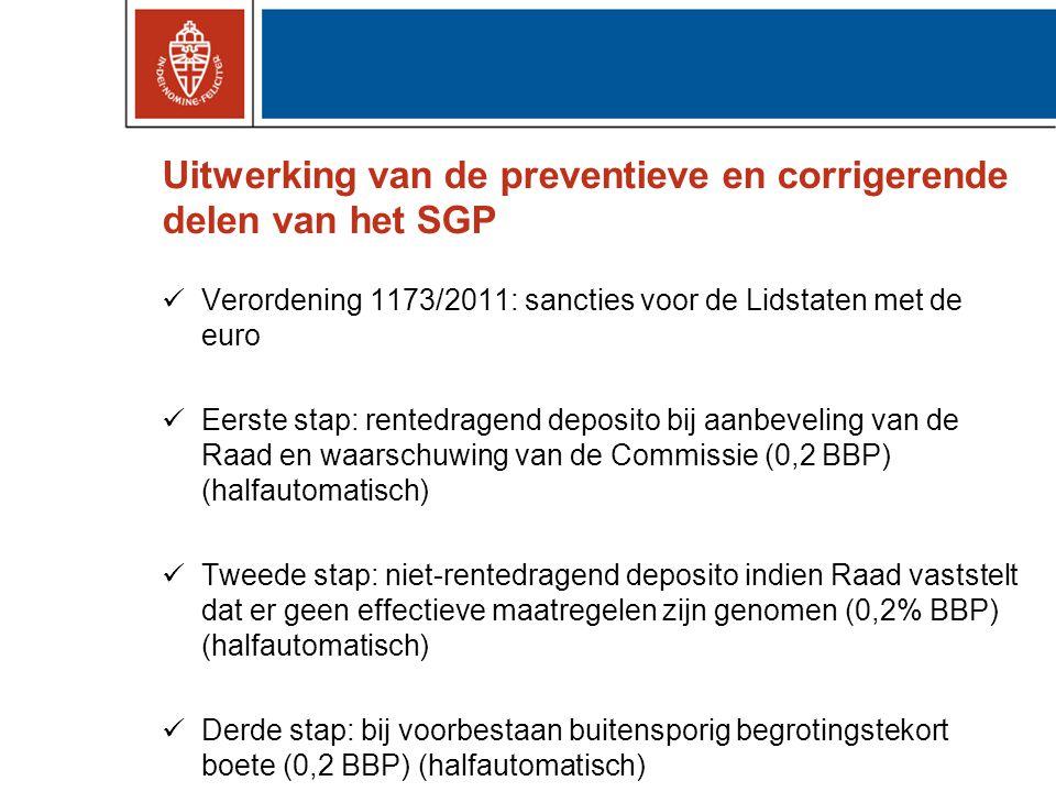 Uitwerking van de preventieve en corrigerende delen van het SGP Verordening 1173/2011: sancties voor de Lidstaten met de euro Eerste stap: rentedragend deposito bij aanbeveling van de Raad en waarschuwing van de Commissie (0,2 BBP) (halfautomatisch) Tweede stap: niet-rentedragend deposito indien Raad vaststelt dat er geen effectieve maatregelen zijn genomen (0,2% BBP) (halfautomatisch) Derde stap: bij voorbestaan buitensporig begrotingstekort boete (0,2 BBP) (halfautomatisch)