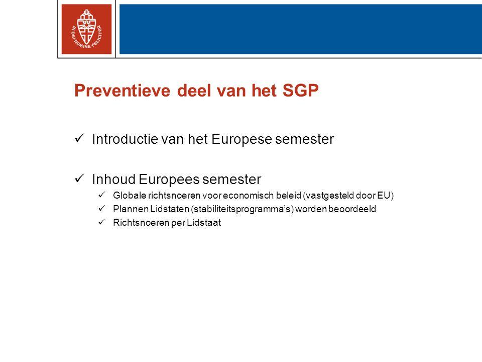 Preventieve deel van het SGP Introductie van het Europese semester Inhoud Europees semester Globale richtsnoeren voor economisch beleid (vastgesteld door EU) Plannen Lidstaten (stabiliteitsprogramma's) worden beoordeeld Richtsnoeren per Lidstaat