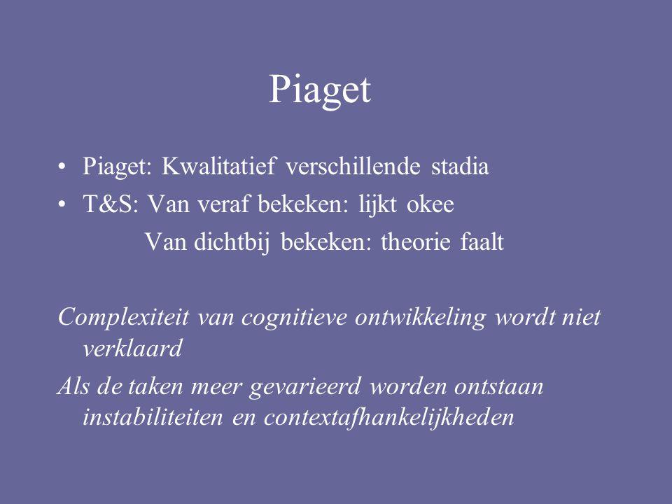 Piaget Piaget: Kwalitatief verschillende stadia T&S: Van veraf bekeken: lijkt okee Van dichtbij bekeken: theorie faalt Complexiteit van cognitieve ontwikkeling wordt niet verklaard Als de taken meer gevarieerd worden ontstaan instabiliteiten en contextafhankelijkheden