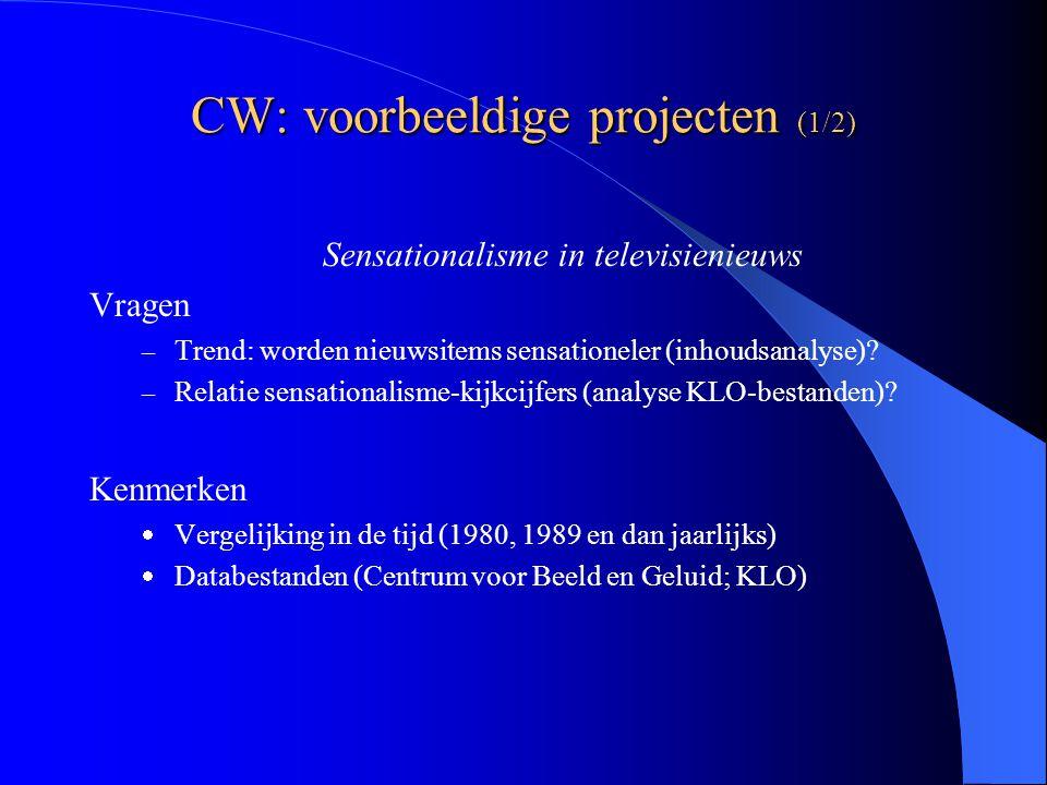 CW: voorbeeldige projecten (1/2) Sensationalisme in televisienieuws Vragen – Trend: worden nieuwsitems sensationeler (inhoudsanalyse).