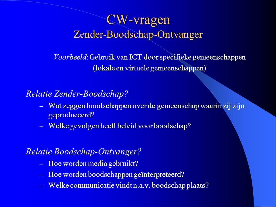 CW-vragen Zender-Boodschap-Ontvanger Voorbeeld: Gebruik van ICT door specifieke gemeenschappen (lokale en virtuele gemeenschappen) Relatie Zender-Boodschap.