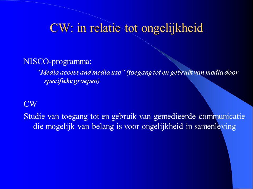 CW: in relatie tot ongelijkheid NISCO-programma: Media access and media use (toegang tot en gebruik van media door specifieke groepen) CW Studie van toegang tot en gebruik van gemedieerde communicatie die mogelijk van belang is voor ongelijkheid in samenleving