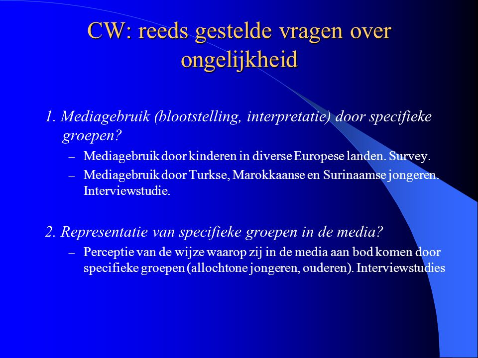 CW: in relatie tot cohesie NISCO-programma: Representations of social reality in mediated communication, the production of mediated communication, and the reception and interpretation of representations Studie van gemedieerde communicatie die mogelijk van belang is voor samenhang in samenleving.