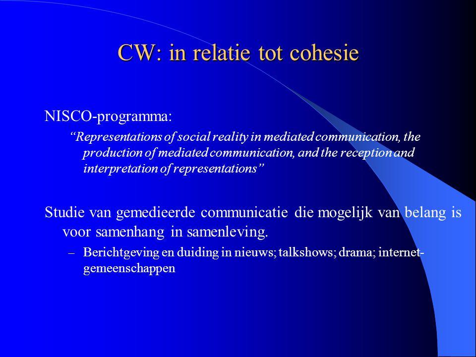 "CW: in relatie tot cohesie NISCO-programma: ""Representations of social reality in mediated communication, the production of mediated communication, an"