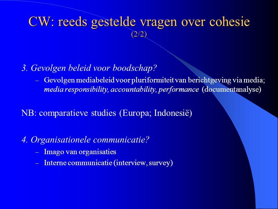 CW: reeds gestelde vragen over cohesie (2/2) 3. Gevolgen beleid voor boodschap.