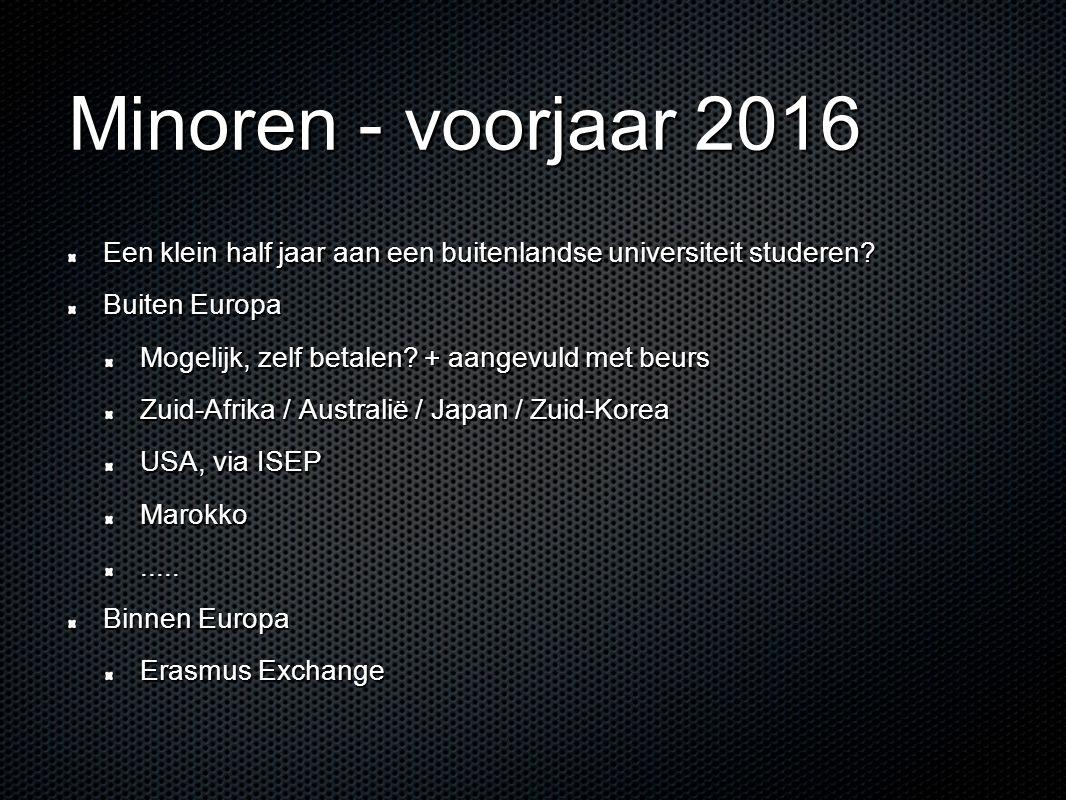 Minoren - voorjaar 2016 Een klein half jaar aan een buitenlandse universiteit studeren.