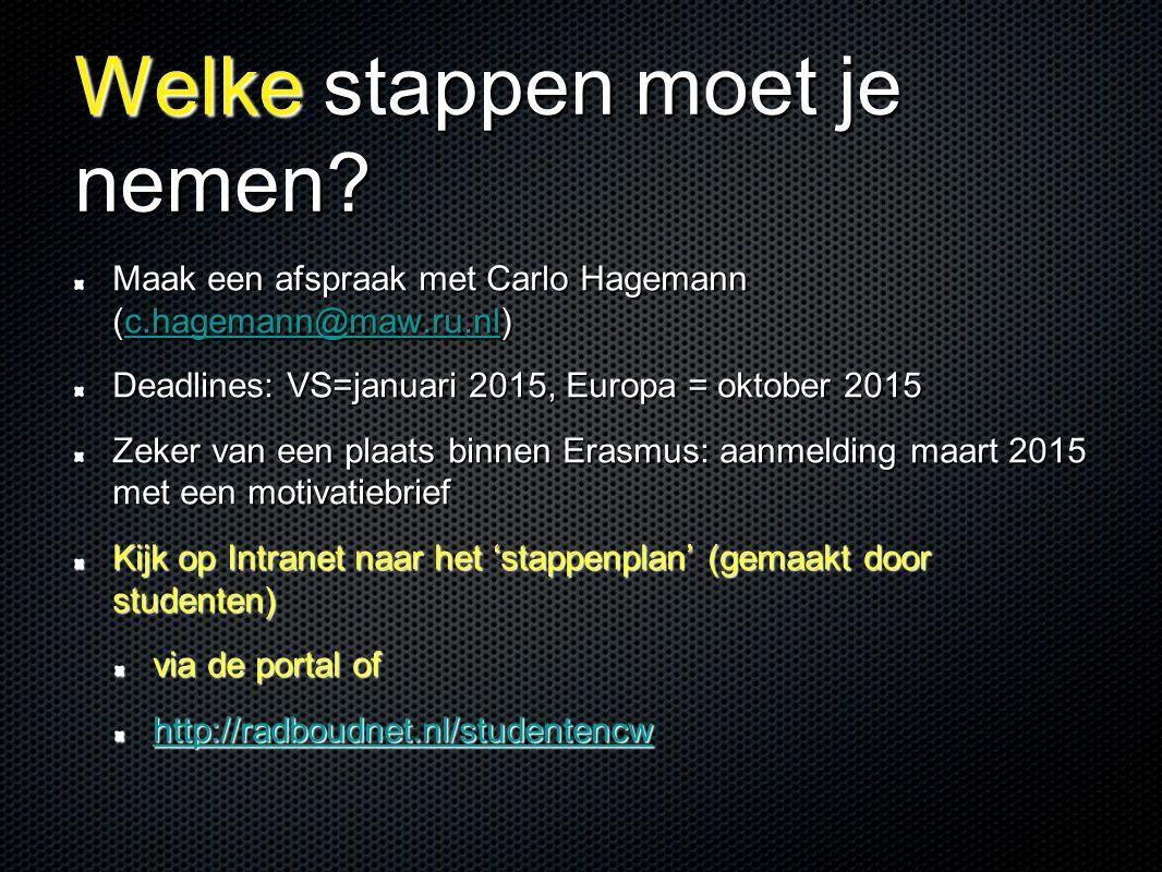 Welke stappen moet je nemen? Maak een afspraak met Carlo Hagemann (c.hagemann@maw.ru.nl) c.hagemann@maw.ru.nl Deadlines: VS=januari 2015, Europa = okt