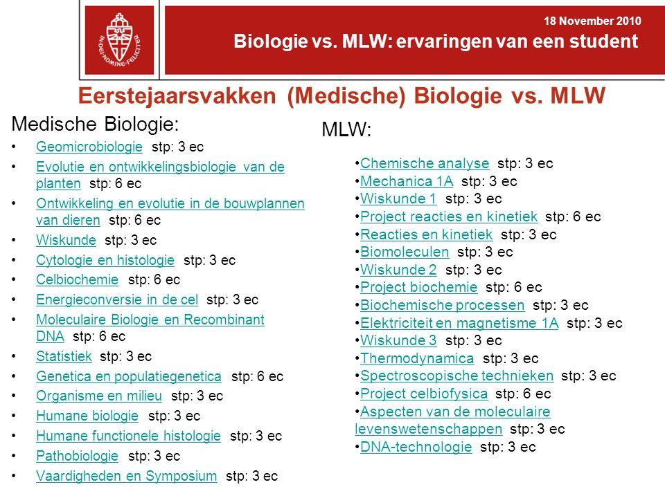 Eerstejaarsvakken (Medische) Biologie vs. MLW Medische Biologie: Geomicrobiologie stp: 3 ecGeomicrobiologie Evolutie en ontwikkelingsbiologie van de p