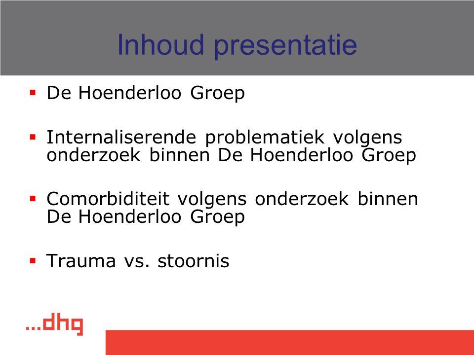 Inhoud presentatie  De Hoenderloo Groep  Internaliserende problematiek volgens onderzoek binnen De Hoenderloo Groep  Comorbiditeit volgens onderzoe