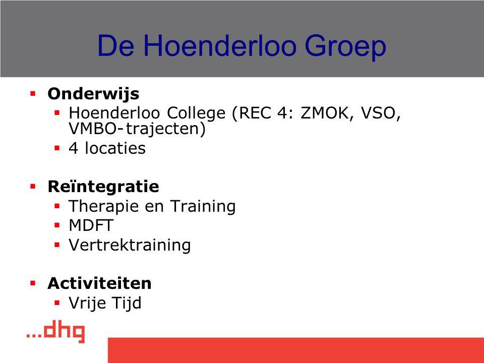 De Hoenderloo Groep  Onderwijs  Hoenderloo College (REC 4: ZMOK, VSO, VMBO-trajecten)  4 locaties  Reïntegratie  Therapie en Training  MDFT  Ve
