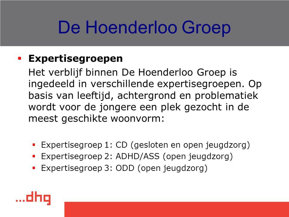 De Hoenderloo Groep  Expertisegroepen Het verblijf binnen De Hoenderloo Groep is ingedeeld in verschillende expertisegroepen. Op basis van leeftijd,