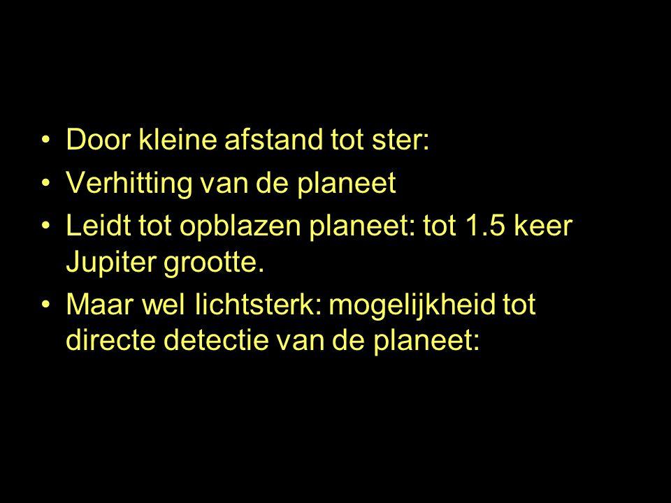 Bloated planets Door kleine afstand tot ster: Verhitting van de planeet Leidt tot opblazen planeet: tot 1.5 keer Jupiter grootte.
