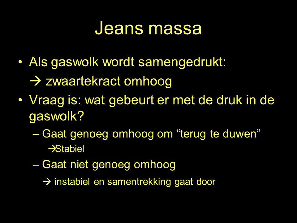 Jeans massa Als gaswolk wordt samengedrukt:  zwaartekract omhoog Vraag is: wat gebeurt er met de druk in de gaswolk.