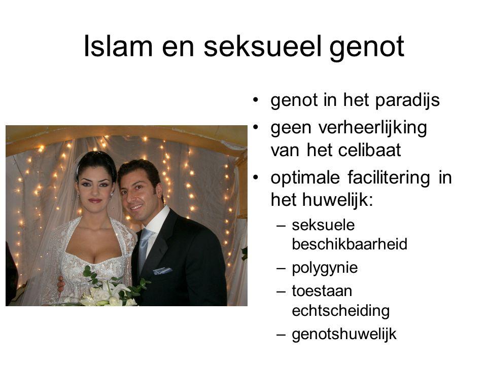Islam en seksueel genot genot in het paradijs geen verheerlijking van het celibaat optimale facilitering in het huwelijk: –seksuele beschikbaarheid –polygynie –toestaan echtscheiding –genotshuwelijk