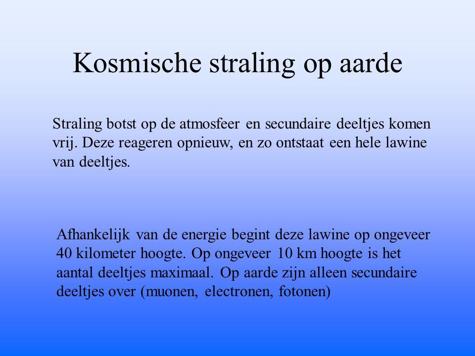 Kosmische straling op aarde Straling botst op de atmosfeer en secundaire deeltjes komen vrij. Deze reageren opnieuw, en zo ontstaat een hele lawine va