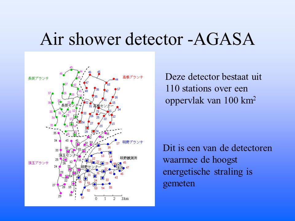 Air shower detector -AGASA Deze detector bestaat uit 110 stations over een oppervlak van 100 km 2 Dit is een van de detectoren waarmee de hoogst energetische straling is gemeten