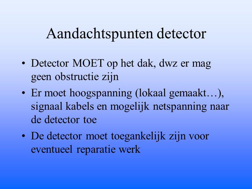 Aandachtspunten detector Detector MOET op het dak, dwz er mag geen obstructie zijn Er moet hoogspanning (lokaal gemaakt…), signaal kabels en mogelijk netspanning naar de detector toe De detector moet toegankelijk zijn voor eventueel reparatie werk