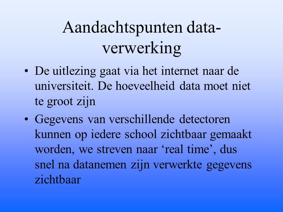 Aandachtspunten data- verwerking De uitlezing gaat via het internet naar de universiteit. De hoeveelheid data moet niet te groot zijn Gegevens van ver