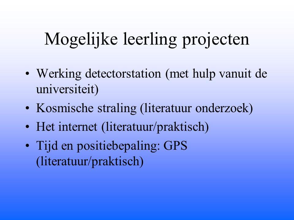 Mogelijke leerling projecten Werking detectorstation (met hulp vanuit de universiteit) Kosmische straling (literatuur onderzoek) Het internet (literatuur/praktisch) Tijd en positiebepaling: GPS (literatuur/praktisch)